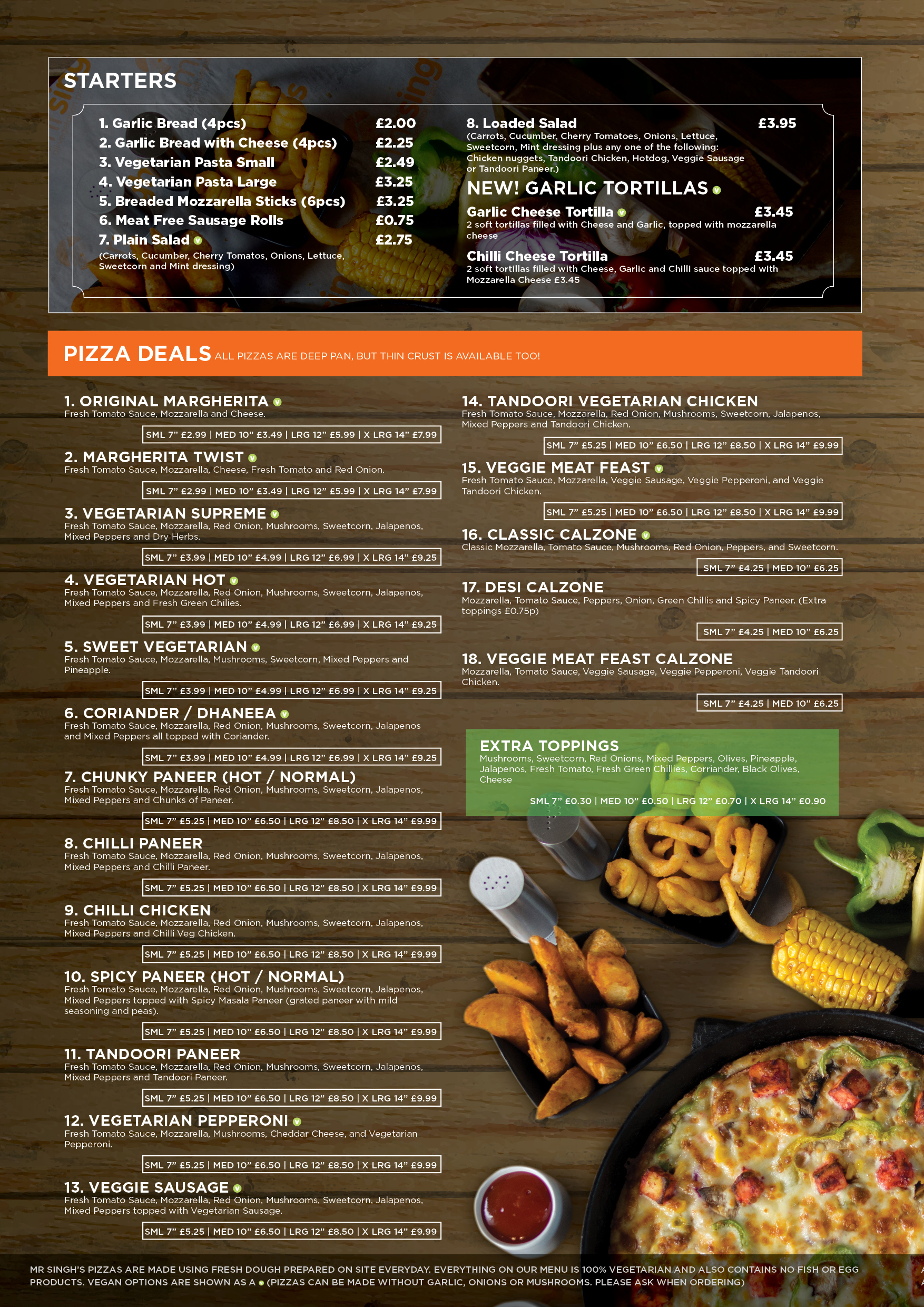 Mr singhs pizza all vegetarian pizza for Kitchen 88 food truck utah menu